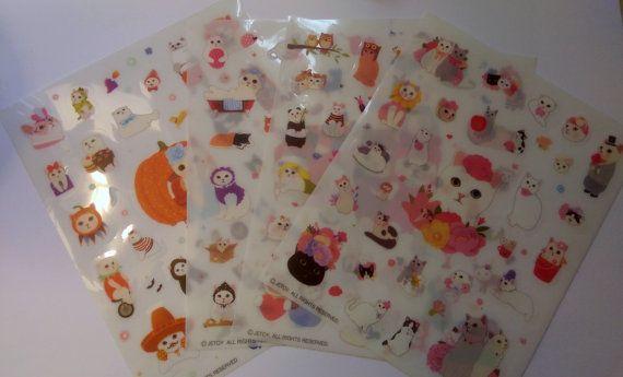 Kawaii Cat Stickers - Cute, Costumes, Halloween, Flowers, Household - Planners, Scrapbook, Journal