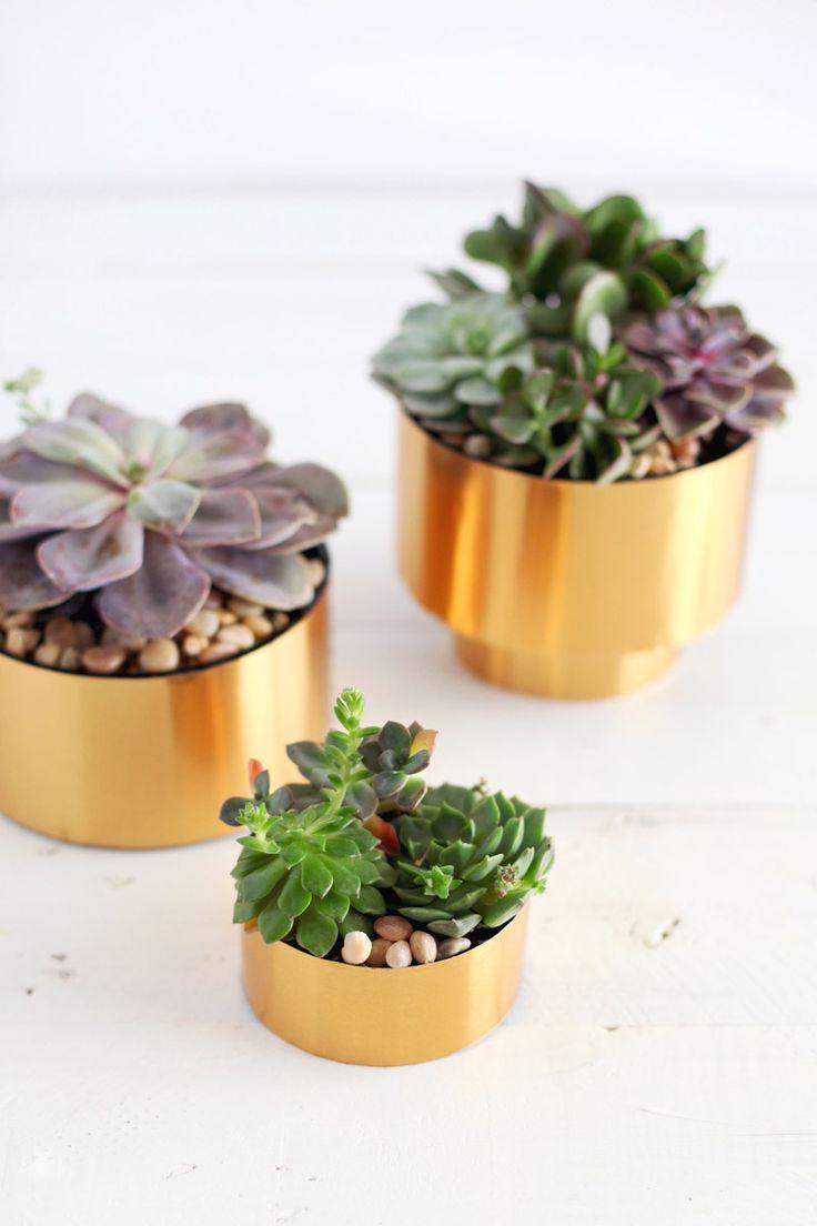 DIY de pot de fleur en laiton / Make these brass succulent planters #copper, #cuivre, #rame, #kupfer, #cobre