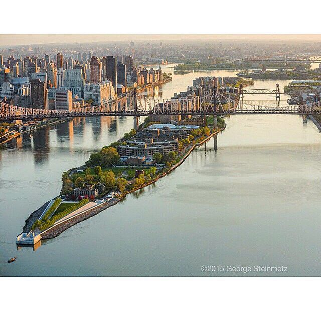 Aerial over East River NYC, The Franklin D. Roosevelt Four Freedoms Park is a four-acre memorial to Franklin D. Roosevelt that celebrates the Four Freedoms he articulated in his 1941 State of the Union address. It is located in New York City at the southernmost point of Roosevelt Island, in the East River between Manhattan Island and Queens. It was designed by the architect Louis Kahn in 1973, not realized until 2012