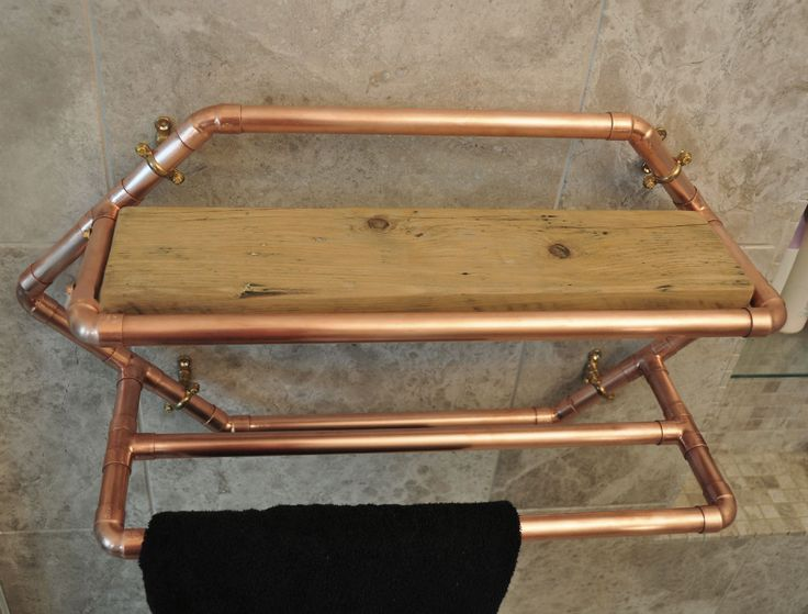 22mm copper towel rail with reclaimed wooden shelf