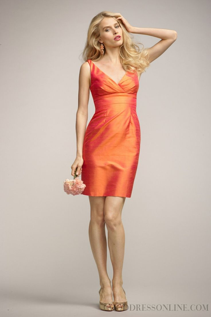 Sheath / Column Short / Mini V-neck Ruffles Bridesmaid Dresses