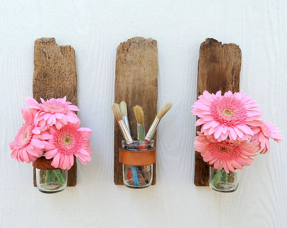 reclaimed wood wall sconces (etsy)