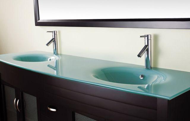Glass bathroom countertop glass bathroom countertop countertops house ideas pinterest for Glass bathroom sinks countertops