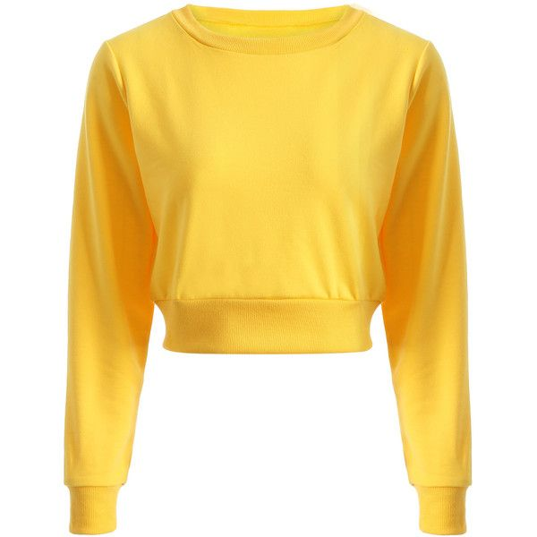 Casual Sports Cropped Sweatshirt ($14) ❤ liked on Polyvore featuring tops, hoodies, sweatshirts, sports tops, sport sweatshirts, yellow sweatshirt, cut-out crop tops and yellow crop top