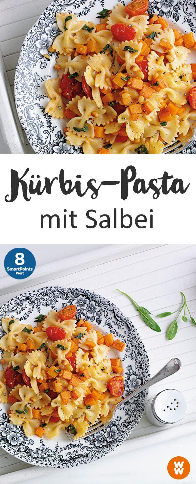 Kürbis-Pasta mit Salbei | 2 Portionen, 8 SmartPoints/Portion, Weight Watchers, fertig in 30 min.