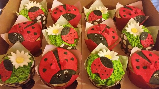 Ladybugs on cupcakes