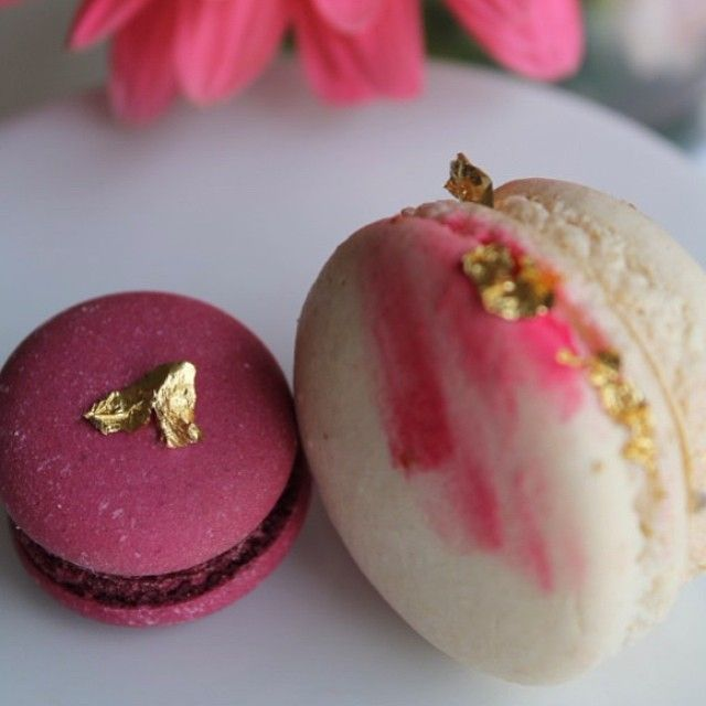 """""""...white and boysenberry macarons with gold leaf... #macarons #melbourne…"""