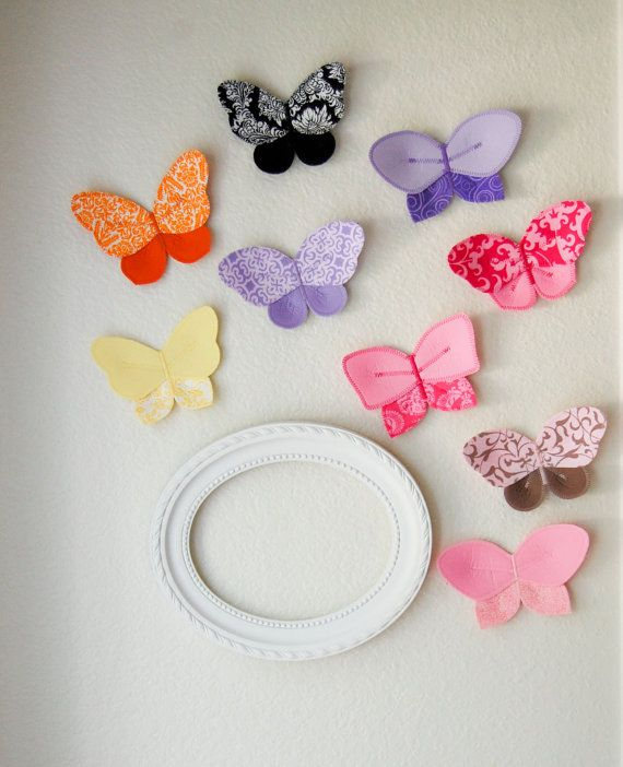fabric butterflies for girls room.  butterflies are 3d and will great with traditional wall decals.