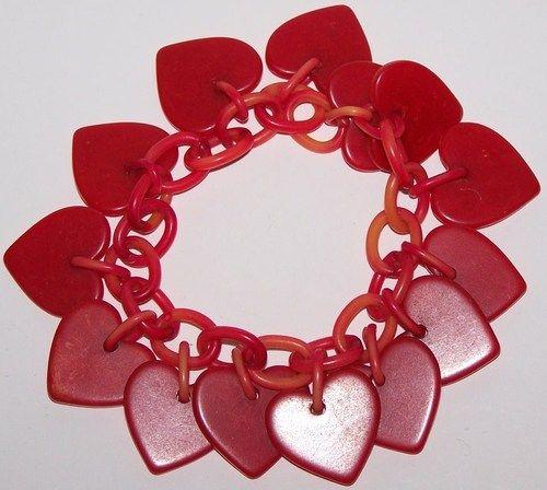 Vintage Bakelite Red Heart Charm Bracelet