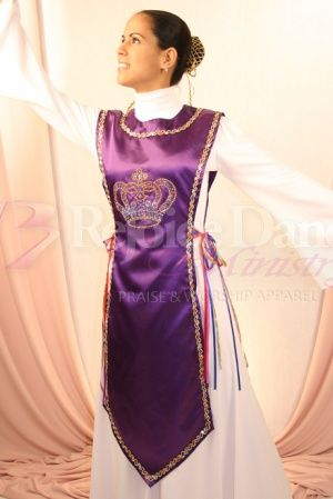 Traditional Ephod with Crown and Color Ribbons as Tyes - Praise & Worship Dance Wear