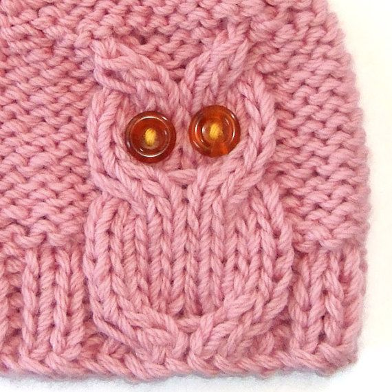 Pink Owl Cable Knit Hat by laceandcable on Etsy