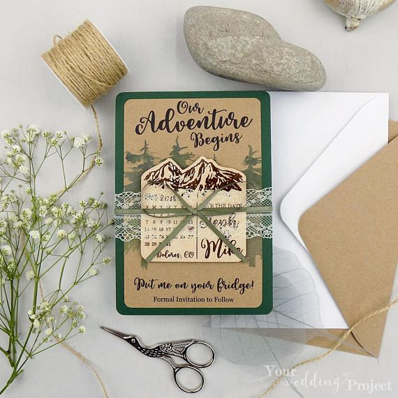 Mountain Save The Date Magnet Calendar Save The Date Wood Save