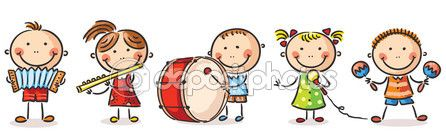 Crianças tocando instrumentos musicais diferentes — Vetor de Stock © Katerina_Dav #54163827