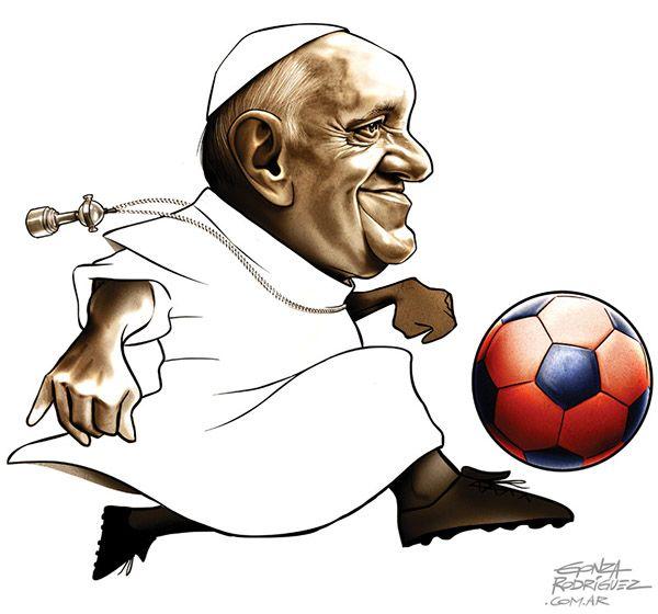 Caricatura del Papa Francisco y su pasion por San Lorenzo / Jornal Zero Hora / Brasil  by Gonza Rodriguez, via Behance