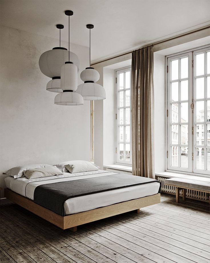 Cozy minimalistic bedroom in warm neutral hues. minimalist ... on Neutral Minimalist Bedroom Ideas  id=17864