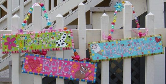 DIY name signs | DIY / Hand Painted Name Signs FREE SHIPPING by elliesshop on ...   Cute for suggie cage: Diy Crafts, For Kids, Painted Name Signs, Names, Handpainted Furniture, Signs Free, Diy Signs