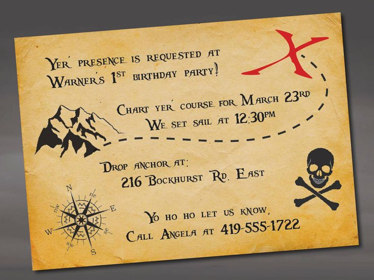 Pirate Birthday Invitation by ayleighdesigns on Etsy, $1.25