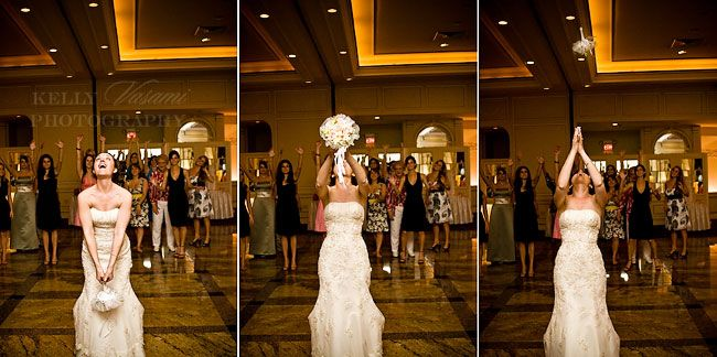 Tossing of the Bouquet - love this angle.