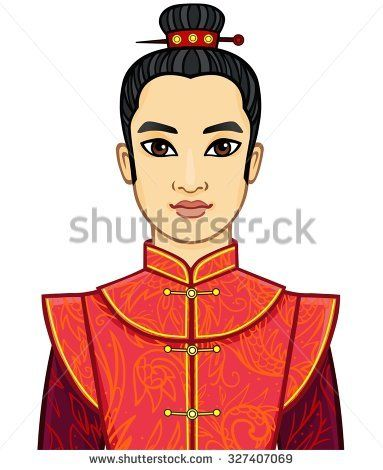 Animation portrait of the Chinese man in traditional clothes with an ancient hairstyle. Isolated on a white background.