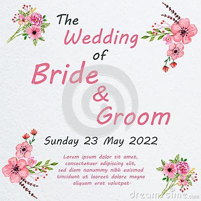 Wedding invitation card with flowers, and dividers, ideal for weddings. Pink and grey colors