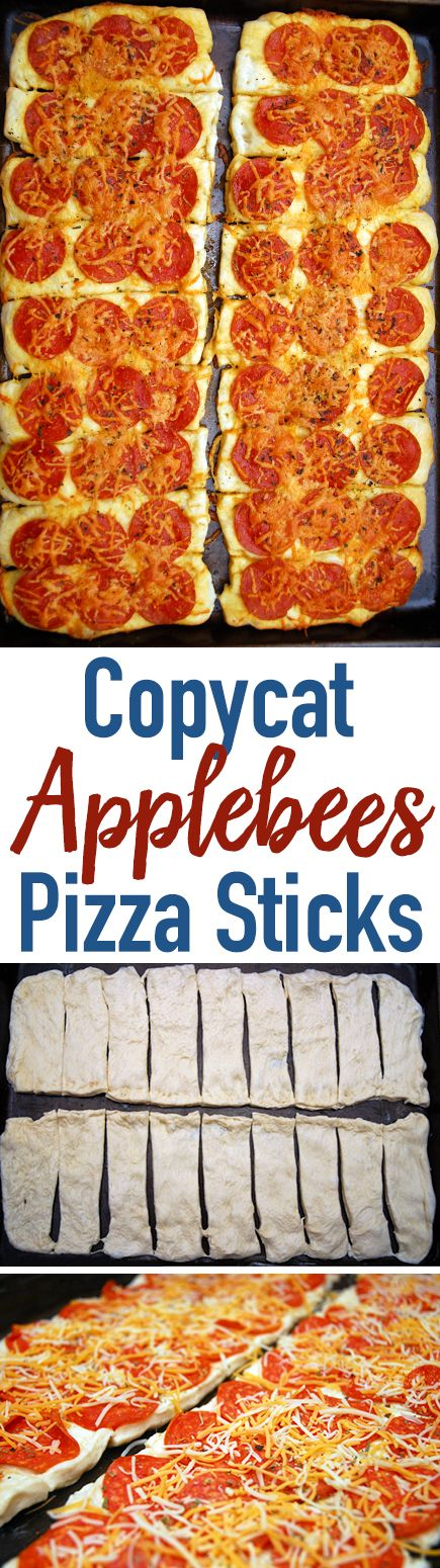 These Copycat Applebee's Pizza Sticks were our favorite appetizer and Applebee's removed them from the menu. They're perfect for parties, snacks, or dinner!
