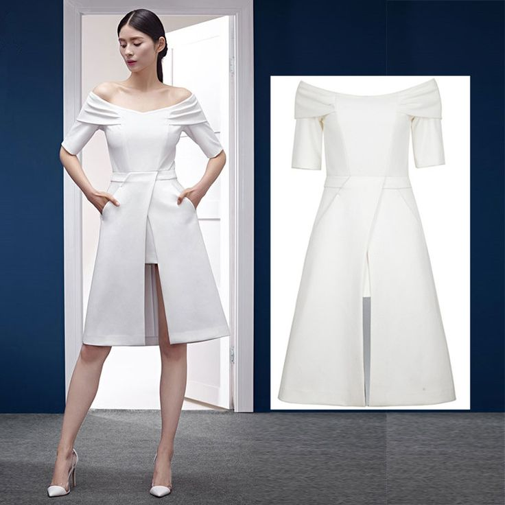 2016 Summer Elegant Women Dress Party Dress Off Shoulder Short Sleeve White Irregular Midi Dress
