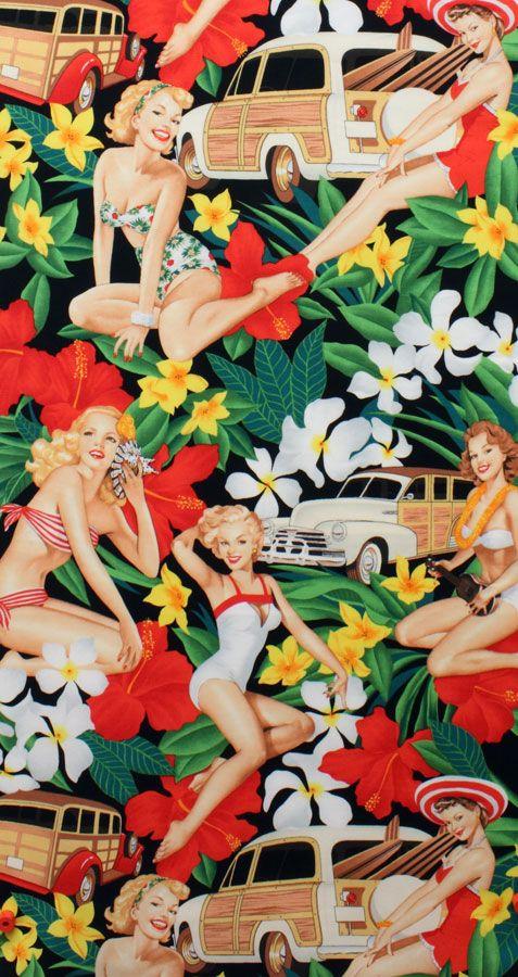 Pinup рокабилли ретро Винтаж черный Aloha Девушки печати швейные texeile сплетенные поплин серии Лоскутное Ткань Лоскутное (0.5 метр) купить на AliExpress
