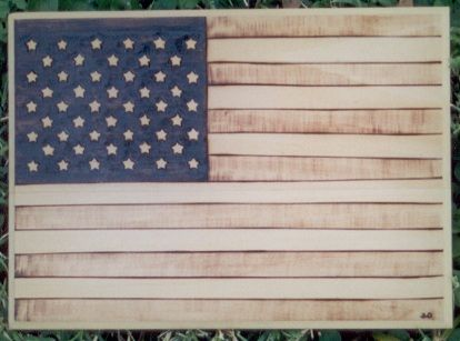 American Flag wood burning art