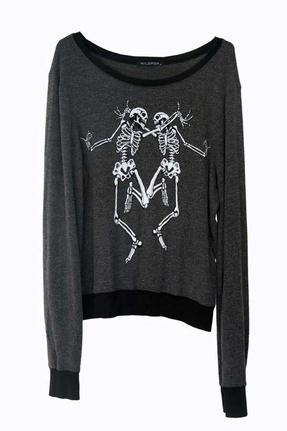 Wildfox Skeleton Dance Baggy Beach Jumper in Clean Black $112.00