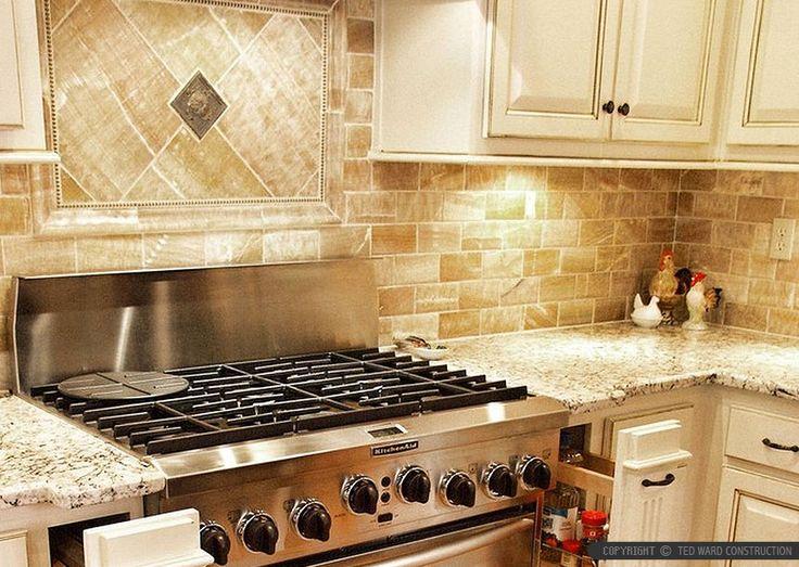 Beige cabinet gold honey onyx kitchen backsplash tile from Backsplash.com