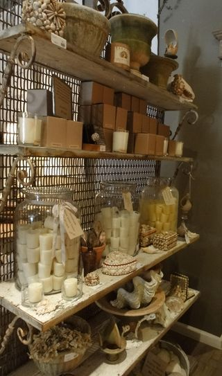 love the idea of the large glass jars filled with stuff  - cute tag tied on