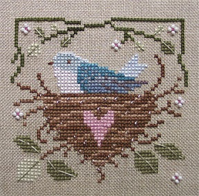 Bluebird nest.  Cross stitch.  Repinned by www.mygrowingtraditions.com