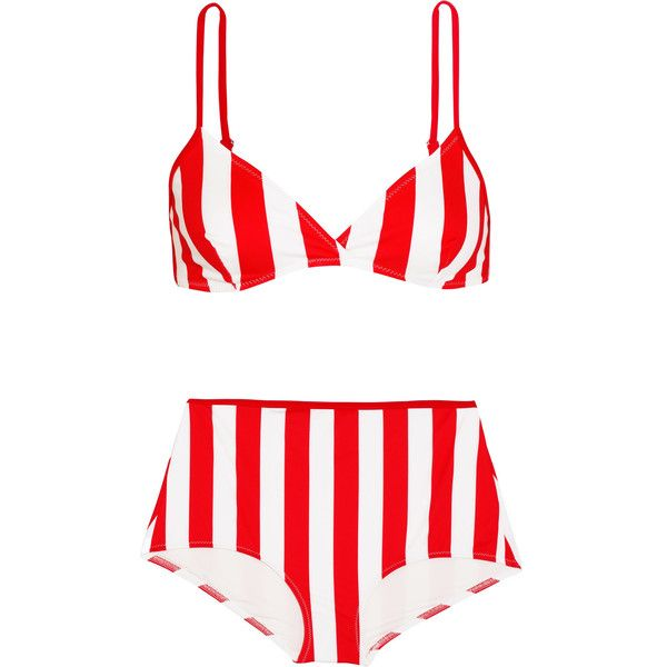 Solid and Striped The Brigitte striped bikini ($195) ❤ liked on Polyvore featuring swimwear, bikinis, red, padded bikinis, red triangle bikini, bikini swimwear, high rise bikini and 2 piece bikini