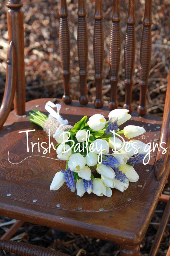 Spring Tulip U0026 Muscari Wedding Bouquet By TrishBaileyDesigns, $95.00