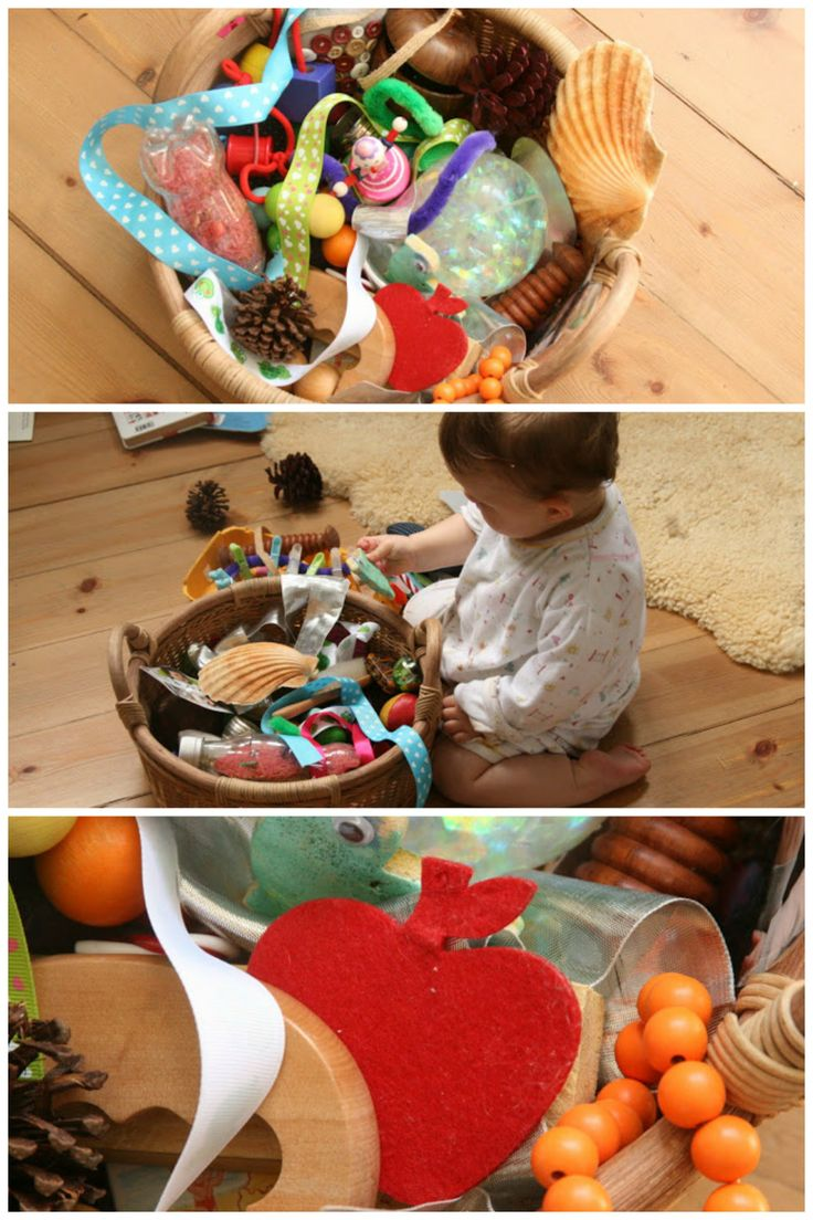 make a baby treasure basket - promotes curiosity and a natural desire to investigate and think