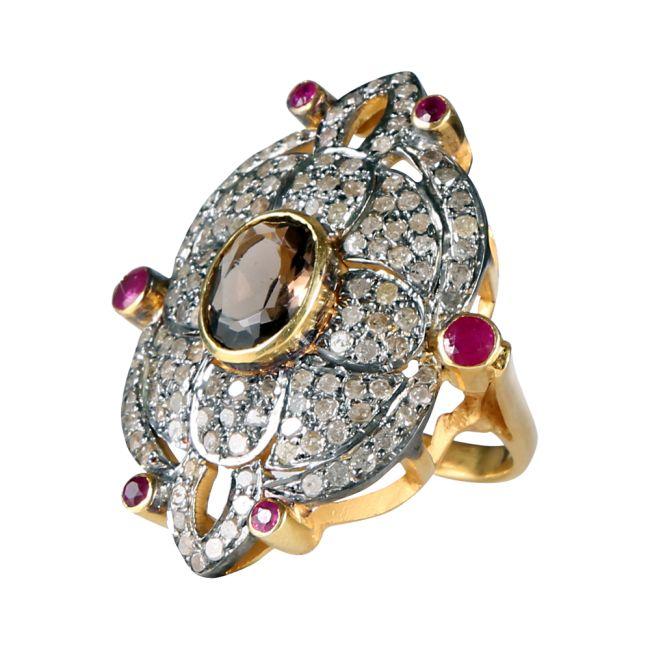 GLAMOUR SMOKY Fantastisk unik statementring med diamanter og ædelsten