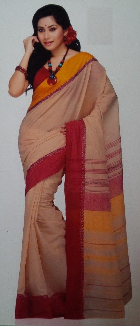 Bengali Biscuit Colour Hand Woven Cotton Saree Price: 3,800INR