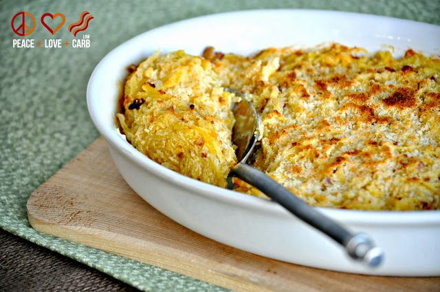 Spaghetti Squash Au Gratin with Bacon   Low Carb  Gluten Free   Peace  Love  and Low Carb
