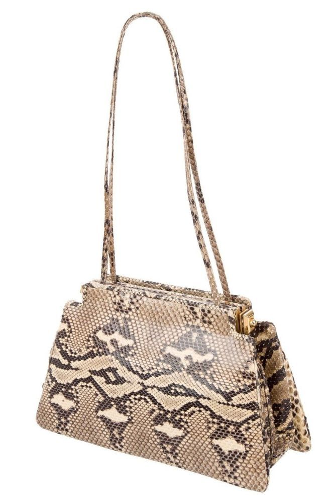 c7352a019cdd Judith Leiber HandBag Snake SKIN Day Shoulder Evening Bag Brown beige Tan  Gold