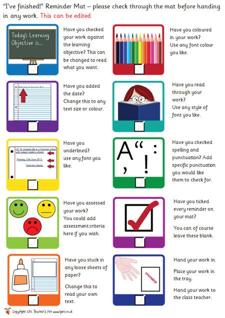 Editiable Early Finishers Checklist Classroom Set Up