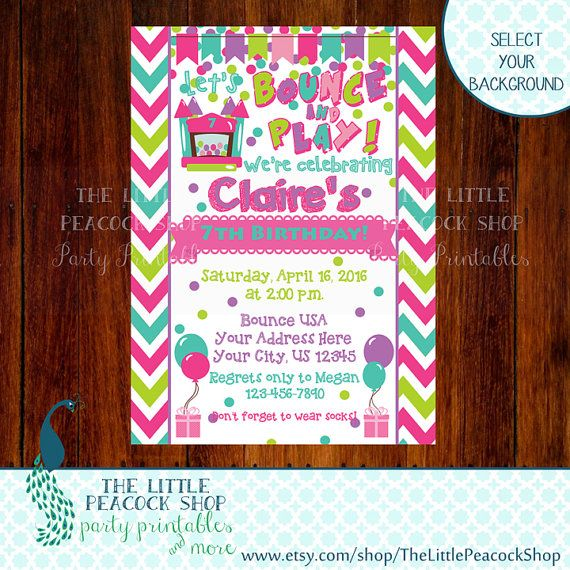 Girls Birthday Bounce House Digital and Printable Invitation | Indoor Inflatable Party Jump Ball pit clipart