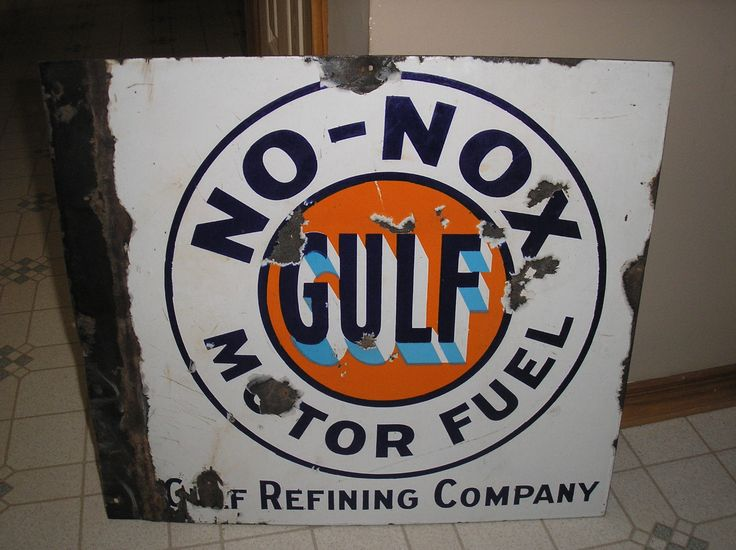 Gulf Antique Porcelain Sign (Old 1940 Vintage No-Nox Motor Fuel Gasoline Advertising Sign, Gulf Oil Refining Company)