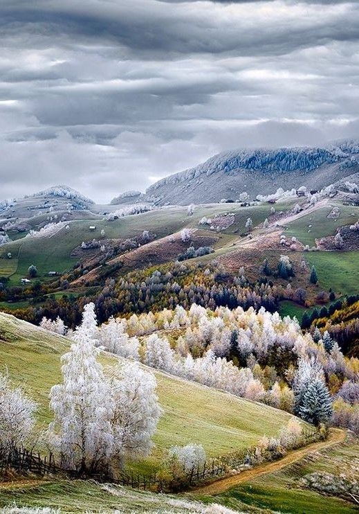 Frost settles over Pestera, Romania