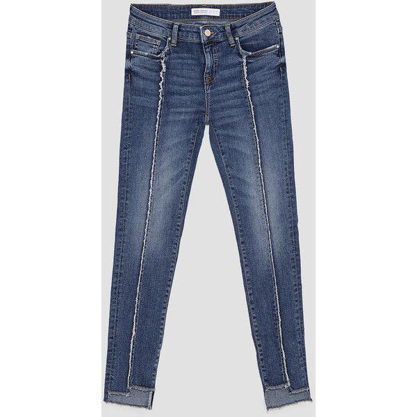 JEANS SKINNY CORTE DESFLECADO - Ver todo-JEANS-MUJER   ZARA España ❤ liked on Polyvore featuring jeans, skinny fit jeans, skinny leg jeans, blue jeans, super skinny jeans and blue skinny jeans