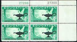 US #1206 Stamps for sale  4 cents Higher Education Stamps  Featuring Map of US & Lamp  Plate Block of 4 Stamps  UR 27296-27300  US 1206-10