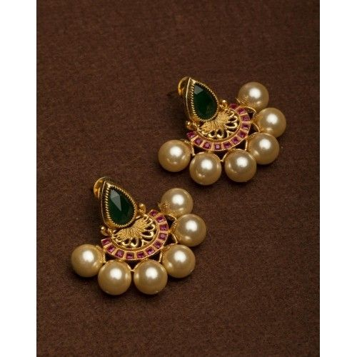 Buy YKGN's Accessories Golden Pearl Earrings online in India at best price. Add an oomph of grace to your jewellery collection with these big pearls earrings.