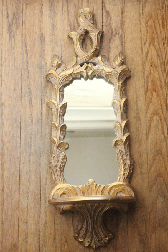 Vintage 40 S 50 S Gold Carved Ornate Wooden Italian Florentine Wall Shelf Niche Mirror In 2020 Carving Wall Shelves Mirror