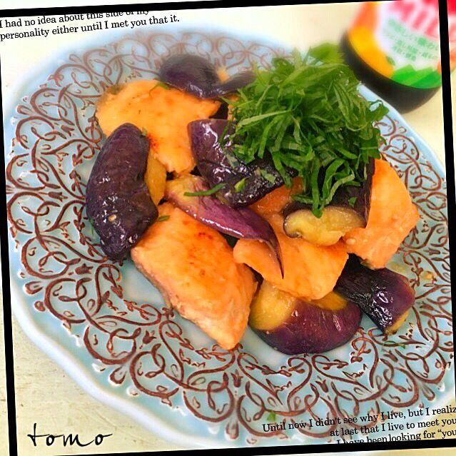 とも's dish photo ともこちゃんの料理 生鮭となすのマヨポン炒め | http://snapdish.co #SnapDish #レシピ #簡単料理 #おつまみ #焼く/炒め物 #魚料理