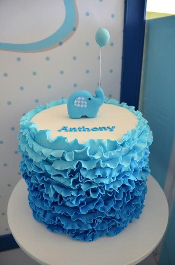 Blue ruffle cake at an Elephant - could be baby shower, baptism or birthday...elephant could be changed or removed