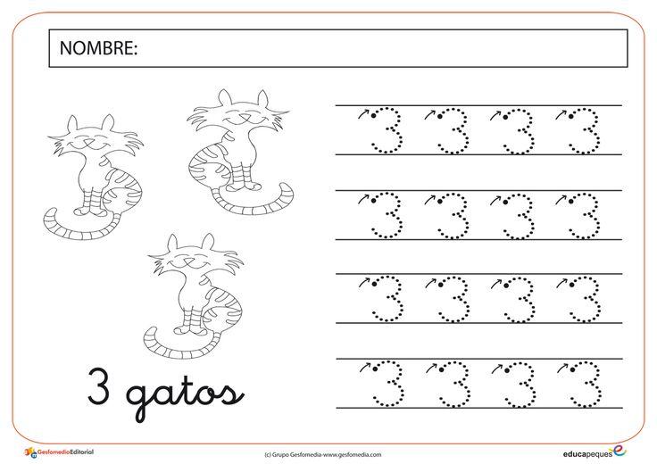 1. Ficha de matemáticas con el número tres.